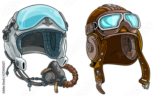 Tableau sur Toile Cartoon colorful modern and retro aviator pilot protective helmet with open glass visor and air mask