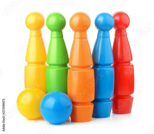Stampa su Tela Toy plastic bowling pins and balls set