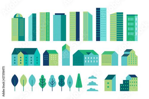Foto Vector set of illustration in simple minimal geometric flat style - city landsca