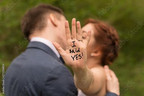 Fotografia, Obraz Romantic portrait of young interracial couple in love hugs