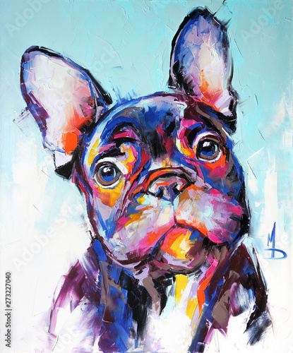 Naklejki na drzwi Olejny portret psa w wielokolorowych odcieniach