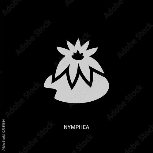 Fototapeta white nymphea vector icon on black background
