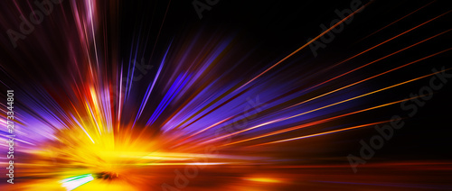 Fotografia, Obraz Panoramic high speed technology concept, light abstract background