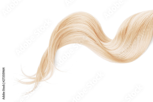Blond hair isolated on white background. Long wavy ponytail Fototapete