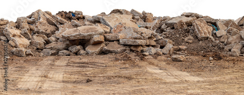 Fotografia Isolate pile of concrete debris.