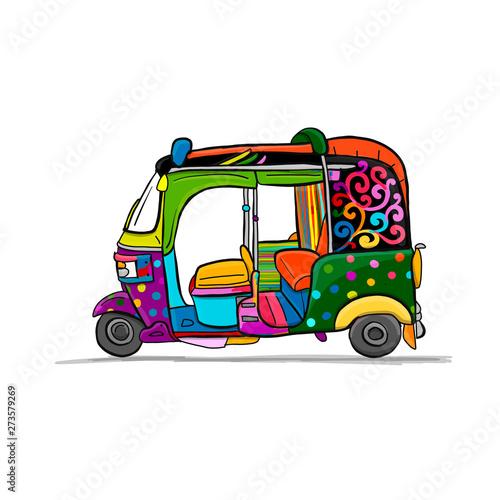 Fototapeta Tuktuk, motorbike asian taxi. Sketch for your design