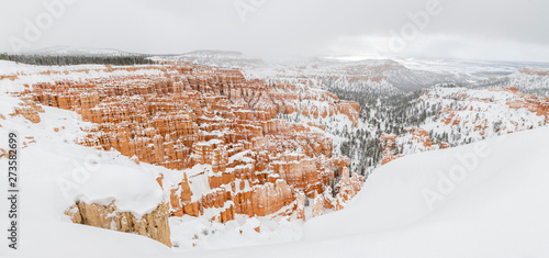 Vászonkép Bryce canyon panorama with snow in Winter with red rocks and blue sky