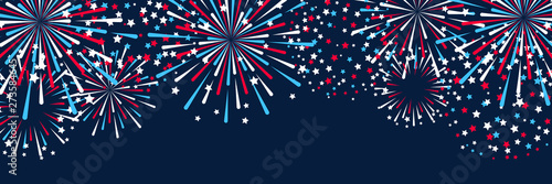 Canvas Print Horizontal panoramic banner with fireworks for Independence day design