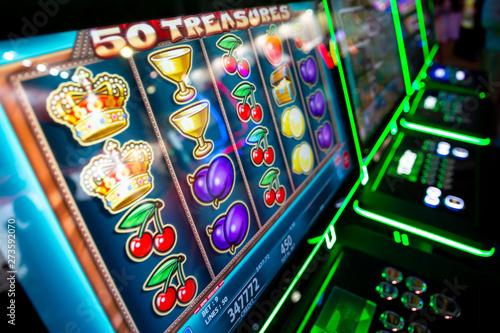 Wallpaper Mural Computer monitor of slot machines in casino