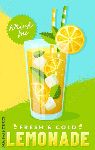 Obraz na plátně Poster with lemonade and colorful background. Vector.