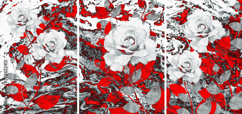 Collection of designer oil paintings. Decoration for the interior. Modern abstract art on canvas. Set of pictures with different textures and colors. Roses on a red-gray background.