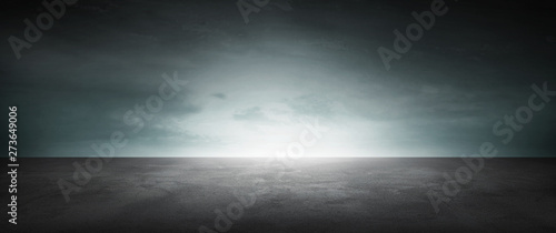 Cuadros en Lienzo Dark Concrete Floor Background Infinite Horizon Sky Panoramic Scene