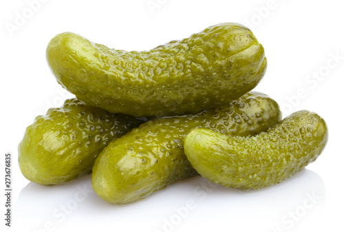 Fotografija Delicious marinated pickled cucumbers, isolated on white background