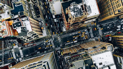 Photo Aerial view of New York downtown building roofs