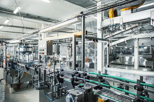 Carta da parati Industrial factory interior with equipment, conveyor line and steel tools, indus