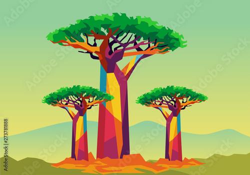baobab tree on wpap popart style Fototapeta