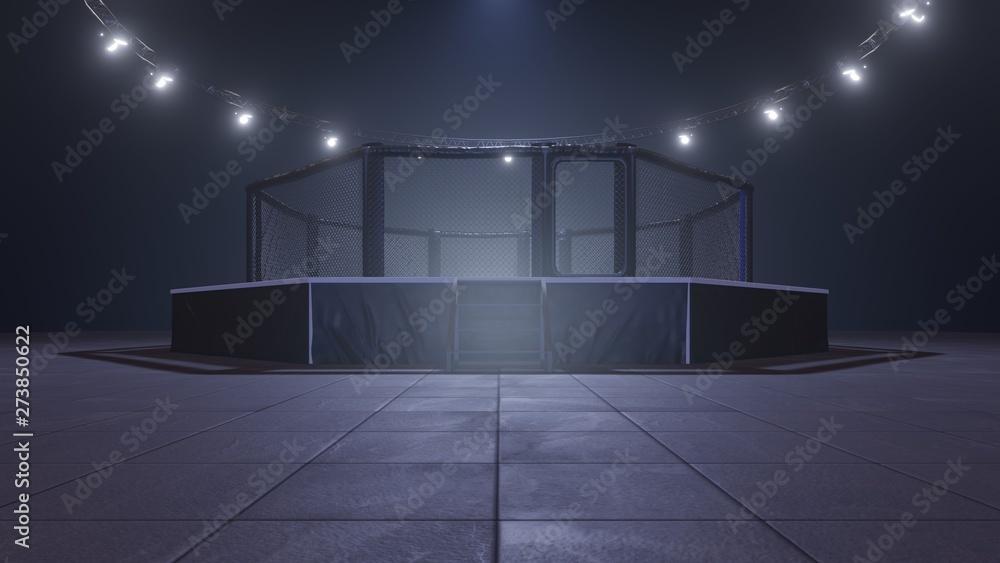 Mma arena. Empty fight cage under lights. 3D rendering <span>plik: #273850622   autor: EDUART</span>