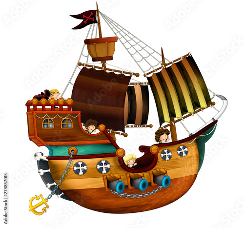 Cartoon pirate ship with cannons on white background - illustration for the chil Fototapeta