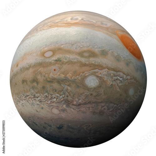 Fototapeta Full disk of planet Jupiter globe from space isolated on white background