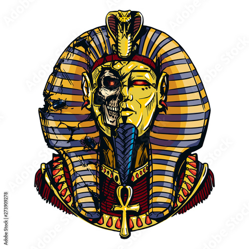 Canvas Print Egyptian pharaoh in a destroyed sarcophagus illustration