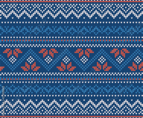 Obraz na plátne Knit geometric ornament background in blue and white colors