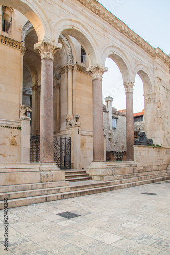 Stampa su Tela Columns in front of cathedral in Diocletian Palace in town of Split, Croatia, UN