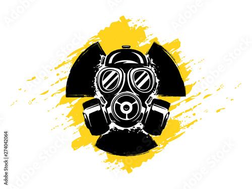 Stampa su Tela Sign of radioactivity with gas mask grunge vector illustration
