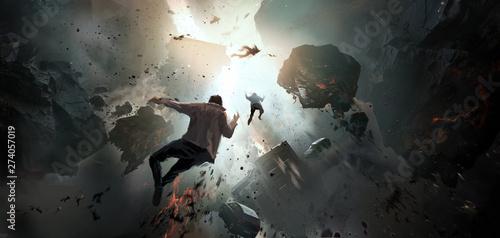 World collapse, doomsday scene, digital painting. Fototapet
