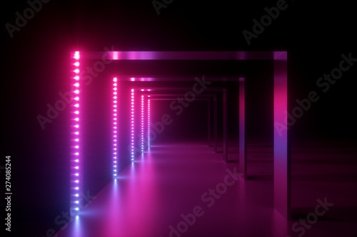 3d render, abstract pink blue neon background, fashion podium in ultraviolet light, performance stage decoration, illuminated night club corridor with square arcade