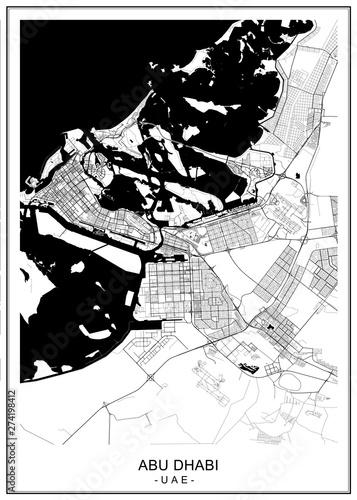 Fototapeta vector map of the city of Abu Dhabi, United Arab Emirates (UAE), Emirate of Abu