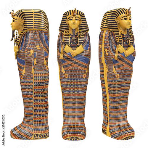Photo Egyptian Pharaoh Mummy Coffin Isolated