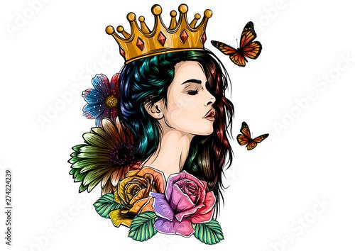 Obraz na plátně Beautiful girl in crown