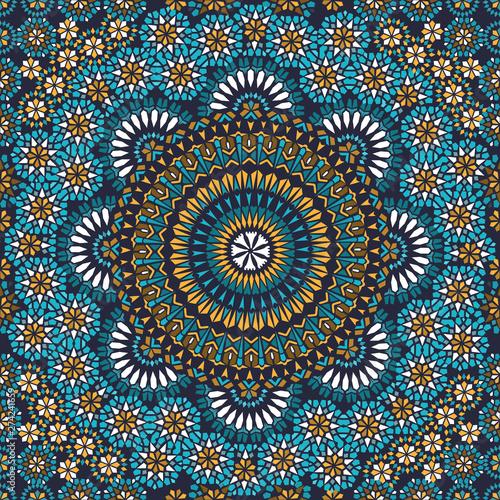 Fototapeta Decorative colorful seamless pattern in mosaic ethnic style