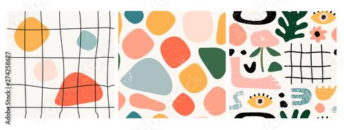 Photo Set of three seamless patterns