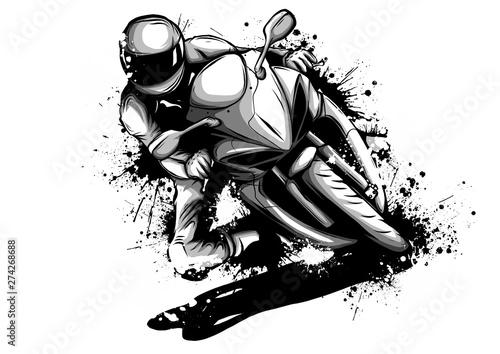Racer riding motorbike logo isolated on background of night sky. Side view of man in helmet, motorbilker on scooter vector illustration male on bike