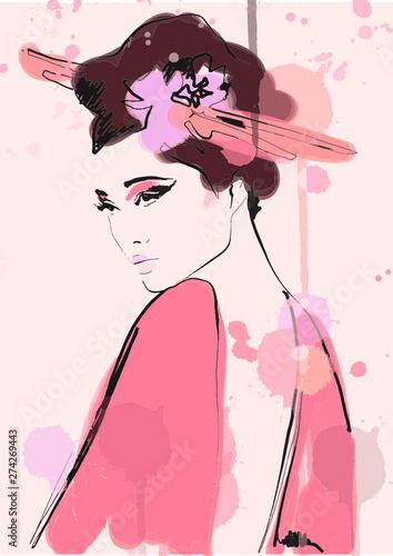 Fotografia geisha illustration. painting asian girl. Fashion art