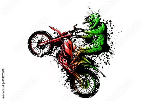 Photo motocross rider ride the motocross bike vector illustration