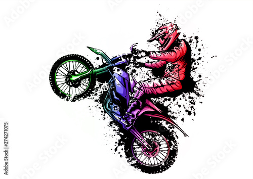 Canvas Print motocross rider ride the motocross bike vector illustration