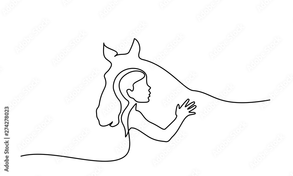 One line drawing. Horse and woman heads logo <span>plik: #274278023 | autor: Valenty</span>