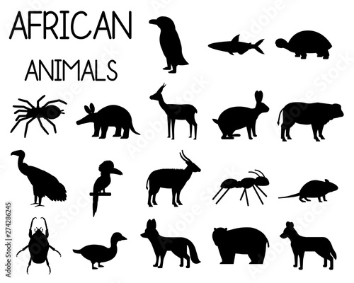 Tablou Canvas African animal silhouettes set of icons in flat style, African fauna, dwarf goose, African vulture, buffalo, gazelle Dorcas, etc