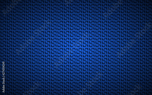 Fotografia, Obraz Blue geometric perforated background, abstract dark blue metallic stainless stee