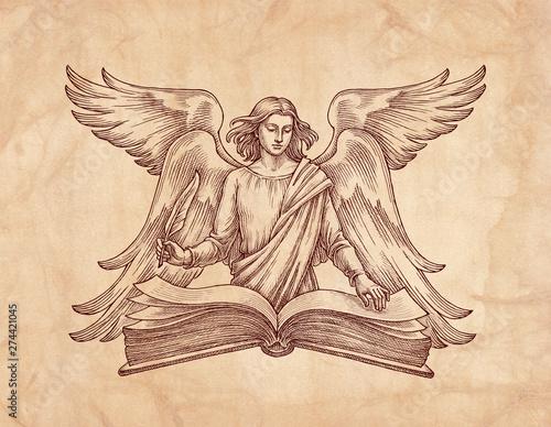 Carta da parati Hand drawn illustration, winged angel with a book.