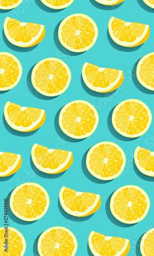 Lemon fruits slice seamless pattern on green blue background. citrus fruits vector illustration.
