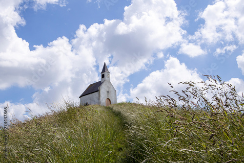 Leinwand Poster The little white church on the hill in the Hague Netherlands.