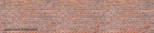 Photo Old red brick wall background. Panoramic wide texture