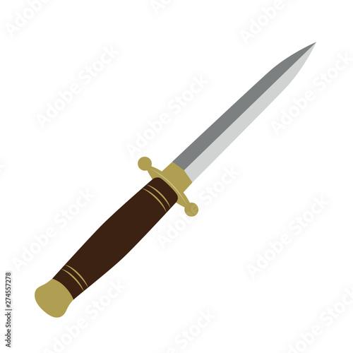 Billede på lærred sharp dagger knife isolated vector illustration EPS10