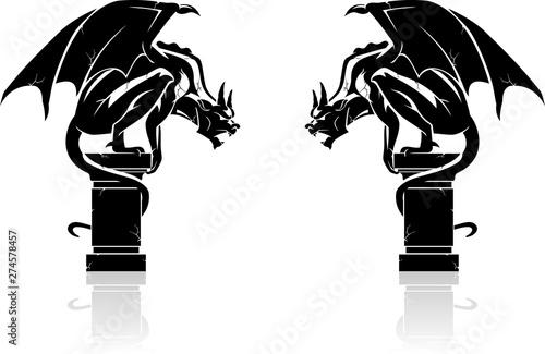 Fototapeta Gargoyle Shadowed Statues