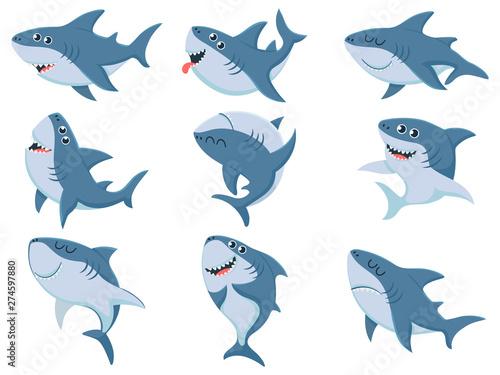Wallpaper Mural Cartoon sharks