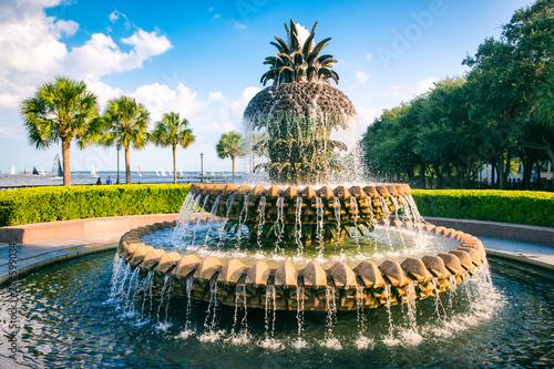 Fototapeta premium Malowniczy widok wody płynącej z fontanny w kształcie ananasa w popołudnie błękitnego nieba na nabrzeżu w Charleston, Karolina Południowa, USA