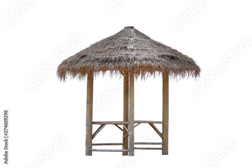 Fotografie, Tablou Bamboo gazebo, bamboo pavilion, canopy isolated on white background